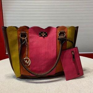 MICHAEL KORS yellow,pink&brown large laptop tote